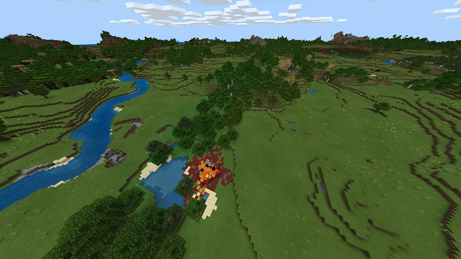 A Minecraft Bedrock screenshot of a new world created with the seed -2125155448.