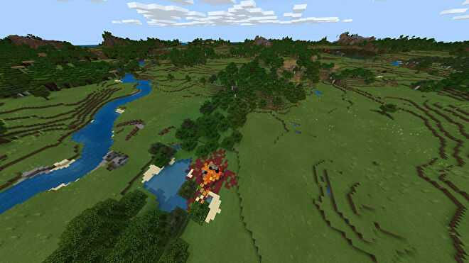 A Minecraft Bedrock screenshot of a new world created with the seed -1541555765.