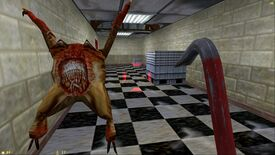 Half-Life: Gordon walks down a hall carrying his crowbar while a headcrab leaps through the air towards the camera with its mouth open.