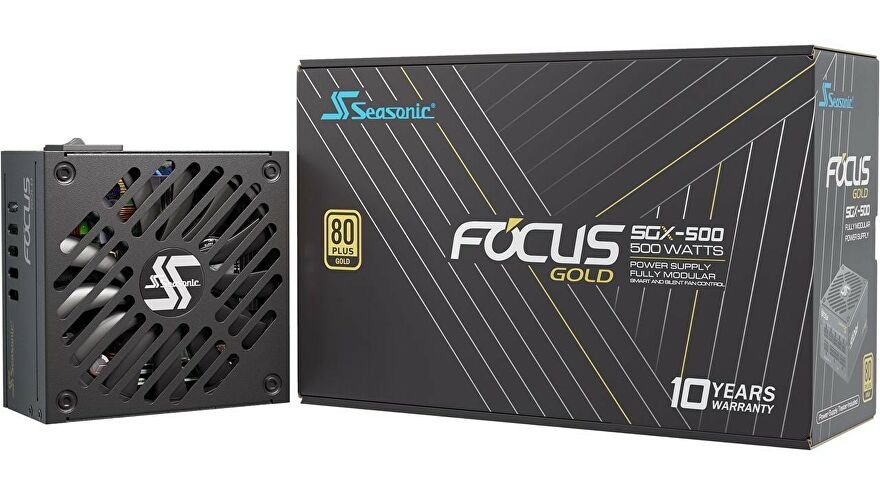 a photo of a seasonic focus 80 plus gold power supply in a small form factor (sfx-l)