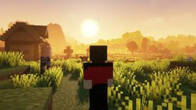A voxel character looks out to a sunset in the distance in Minecraft