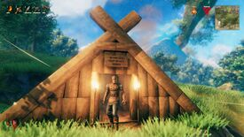 Valheim viking standing in front of a small wooden house