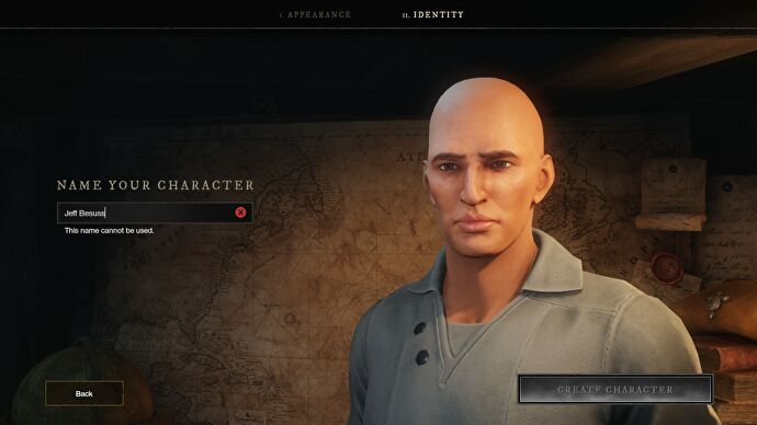 A screenshot showing the character creation name screen in New World, in which the player has attempted to name their character some variation of Jeff Bezos.