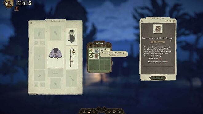 Book Of Travels - Player equipment screen showing a passive skill for Instruction: Vellan Tongue