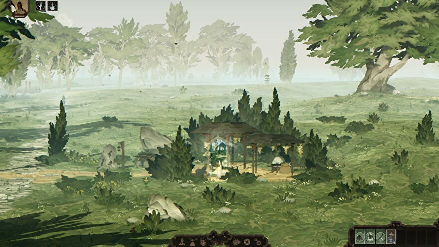 Book Of Travels - A player standing beneath a Nomad's Rest shelter about to walk through a magical portal