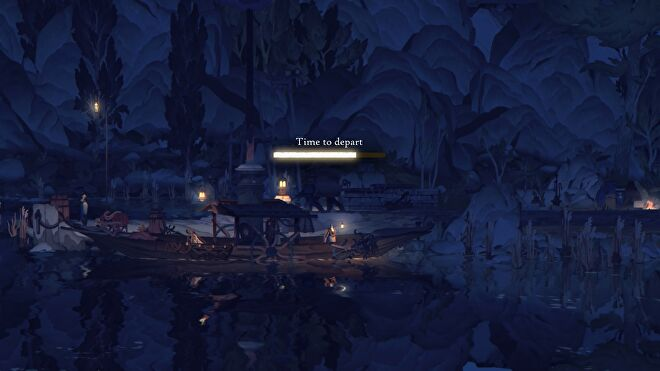 """Book Of Travels - A player holding a lit lantern standing on a boat with a progress bar that reads """"Time To Depart"""""""