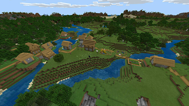 A Minecraft Bedrock screenshot of a new world created with the seed 2034376196.