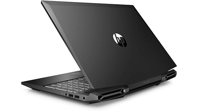 a photo of a gaming laptop, specifically the hp pavilion 15