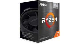 a photo of the ryzen 7 5700g APU, showing the chip in its box and the included 'wraith' cooler