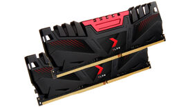 a photo of red and black gaming RAM from PNY, with a spiky appearance that screams 'speed!'