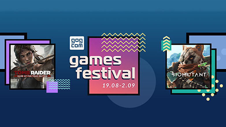 a graphic showing the gog game festival, featuring the games tomb raider, biomutant, cyberpunk and psychonauts 2