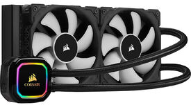 a photo of a corsair h100i pro xt 240mm aio, a kind of all-in-one liquid cpu cooler with rgb lighting on the pump