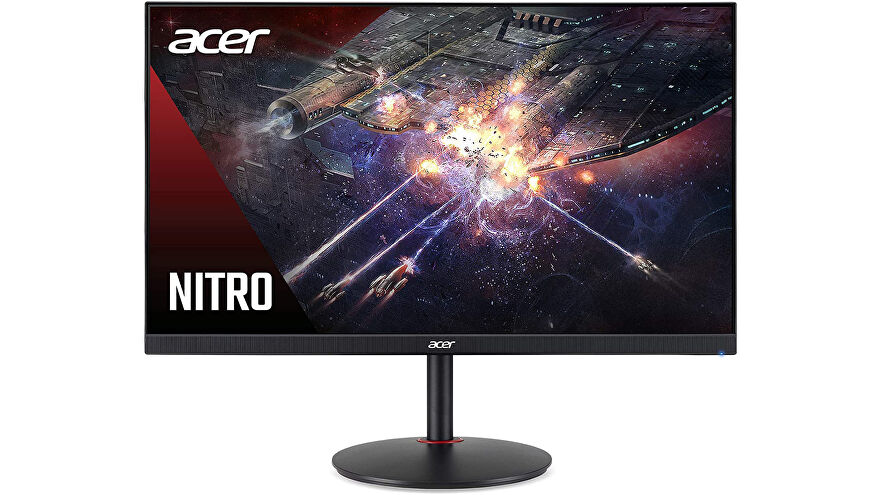 this photo of a red, slim-framed monitor depicts the acer nitro xv272u