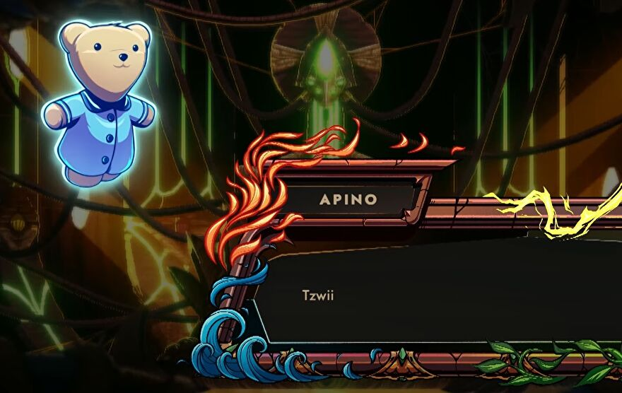 """A screenshot of 9 Years Of Shadows showing Apino, a magical teddy bear, floating and saying in a dialogue box, """"Tzwii."""""""