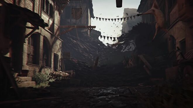 A screenshot from the reveal trailer for A Plague Tale: Requiem showing a huge tidal wave of rats sweeping down a deserted medieval town's street