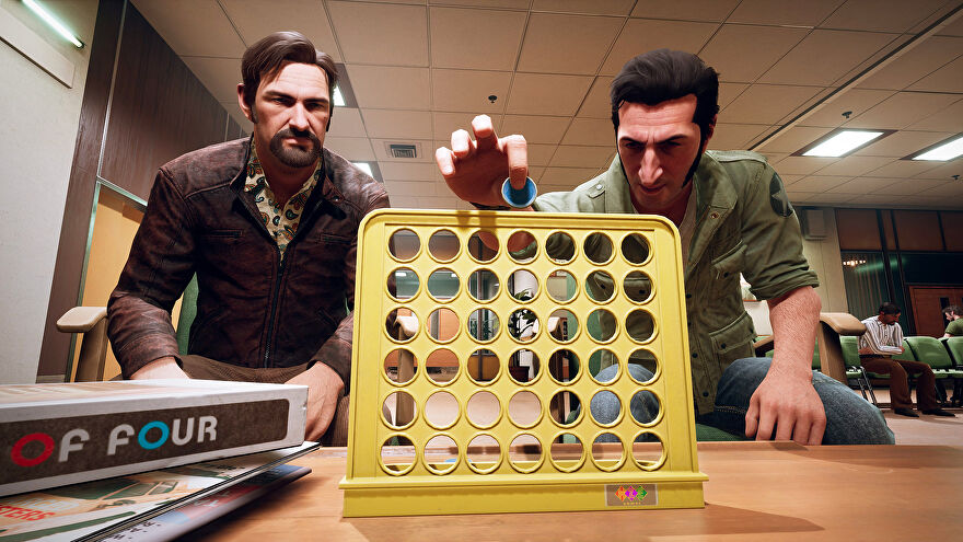 Vinny and Leo from A Way Out playing a game of Connect 4