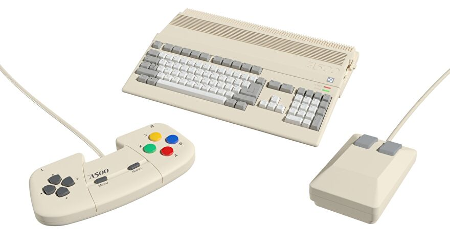 An image showing the A500 Mini alongside its mouse and controller.