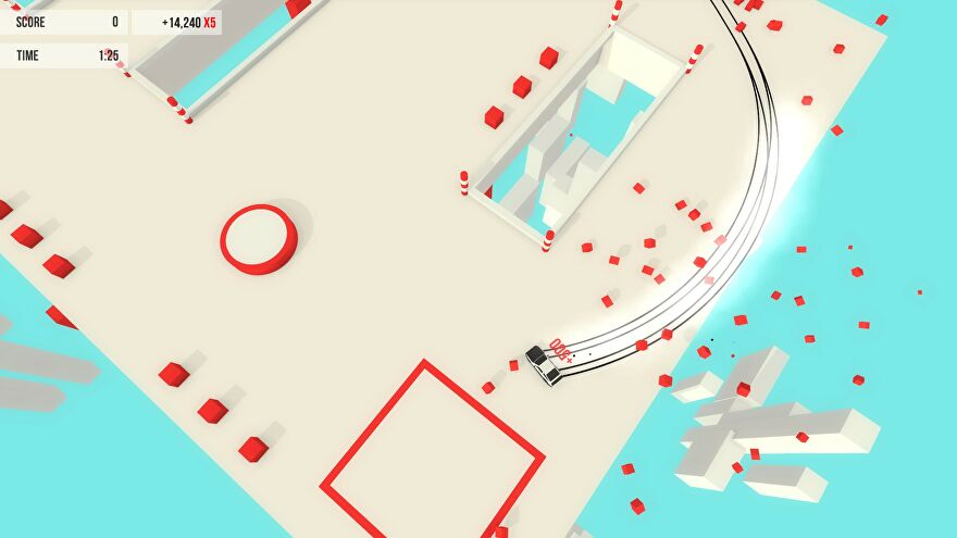 Absolute Drift - A car drifts around a hole in the floor of a pastel colored level with red obstacles.