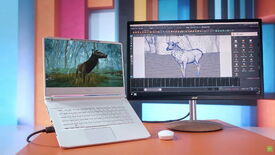 Acer's new laptop with a stereoscopic 3D display, connected to a monitor showing an animation program