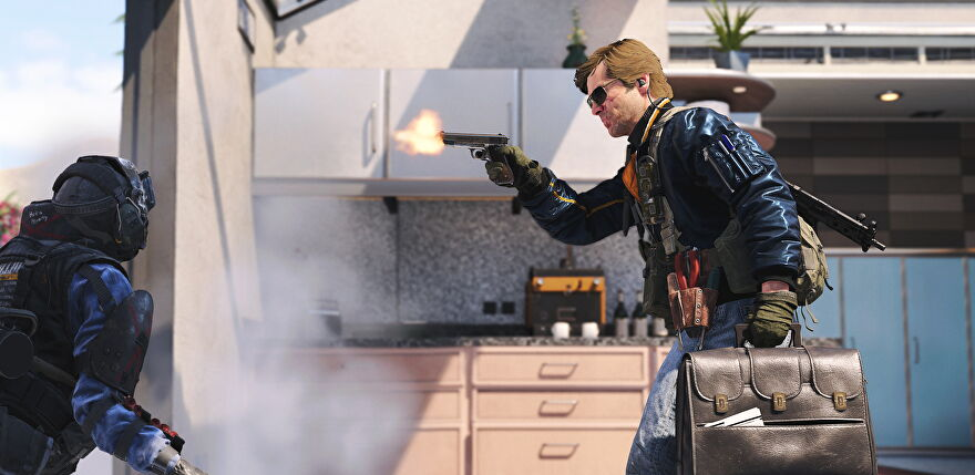 Adler holds a briefcase and pistol in call of duty