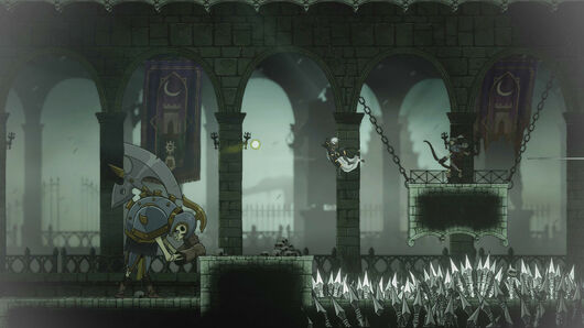A man jumps over a pit of spikes in Aeterna Noctis.