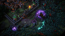 A screenshot of Age Of Darkness showing a swarm of green enemies surrounding a walled town with a small group of defenders.