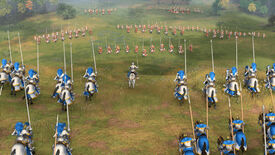 Armies about to clash in an Age of Empires 4 screenshot.