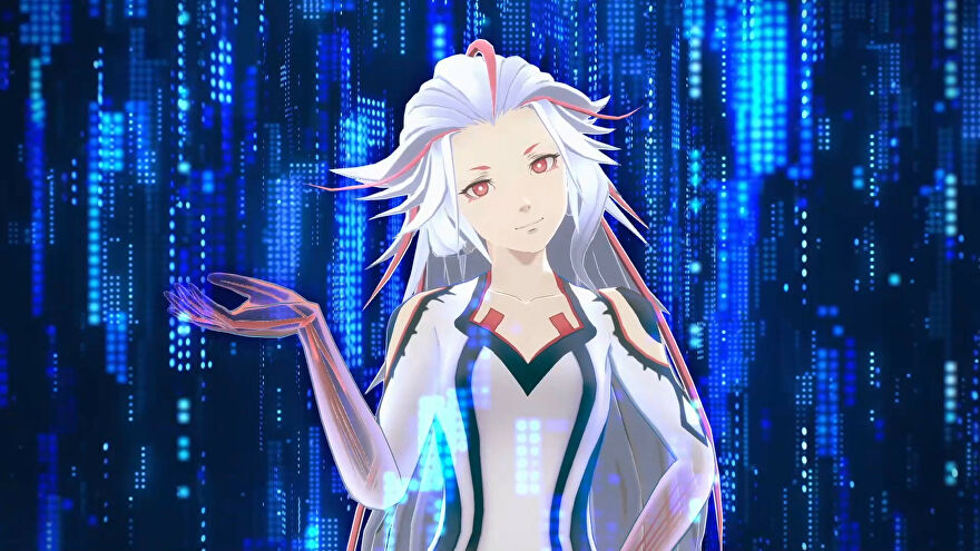 A screenshot of AI: The Somnium Files - nirvanA Initiative showing Aiba, your murder-solving AI pal, standing in cyberspace.