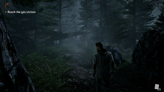 A screenshot of Alan Wake, showing Alan on a forest path.