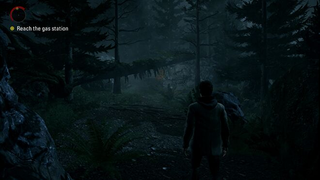 A screenshot of Alan Wake Remastered, showing Alan on a forest path.