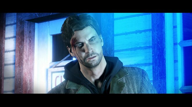 A screenshot of Alan Wake Remastered, showing Alan looking confused in a cutscene.