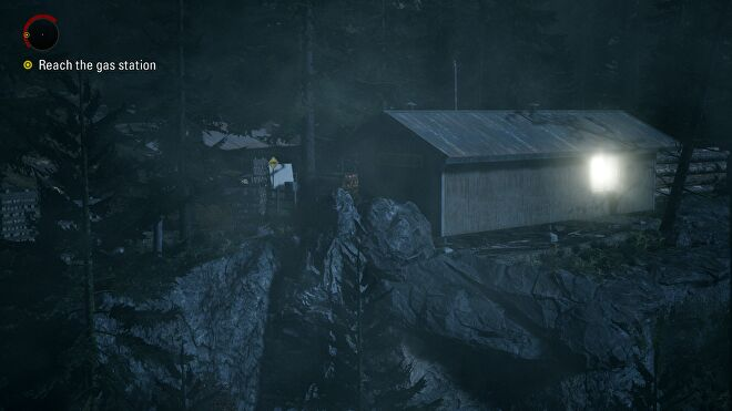 A screenshot of a logging facility in Alan Wake Remastered.