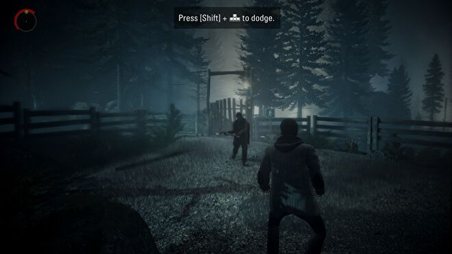 A screenshot of Alan Wake Remastered, showing Alan under attack from a shadowy axe-wielder. Strong motion blur is visible.