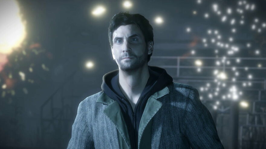 A close-up of Alan from Alan Wake Remastered