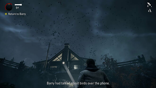 Alan stares up at a sky full of birds in Alan Wake Remastered