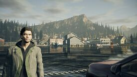 A screenshot of Alan Wake Remastered, showing Alan on a ferry approaching a town.