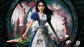 Alice with a knife on the Alice: Madness Returns box art.