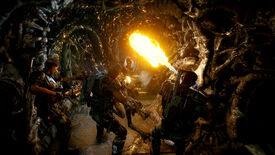 Marines in a hive blasting a xenomorph in an Aliens: Fireteam screenshot.