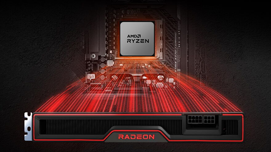 Artwork of an AMD CPU paired with the AMD Radeon graphics card