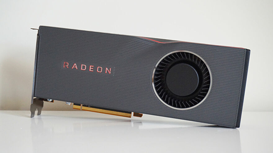A photo of the AMD Radeon RX 5700 XT, in its stock cooler configuration.
