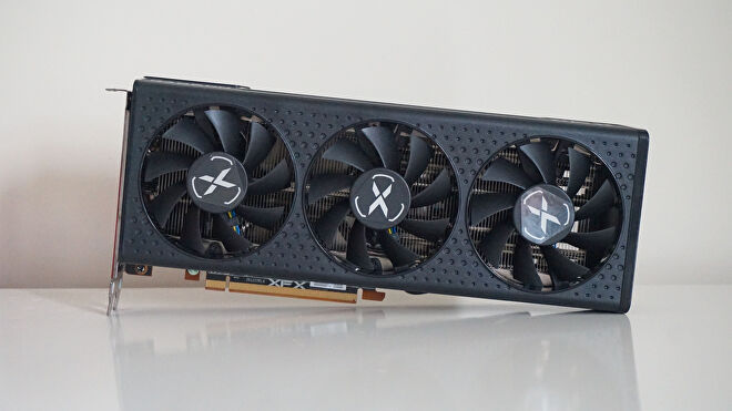 A face-on photo of the AMD Radeon RX 6600 XT graphics card