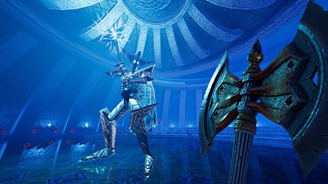 An image from Amid Evil which shows the player wielding a battle axe and stood toe-to-toe with a giant armoured enemy holding a staff.