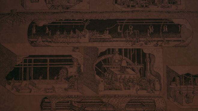 An illustration of a meat factory in Amnesia: A Machine For Pigs