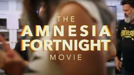 A still from the Amnesia Fortnight Movie, showing the name of the film on screen. A sneaky Tim Schafer is entering the frame from the right.