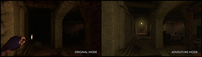 A side-by-side comparison of the original Amnesia: Rebirth and its brighter Adventure Mode.