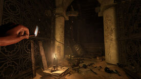 A dark and ruined room illuminated by matchlight in an Amnesia: Rebirth screenshot.