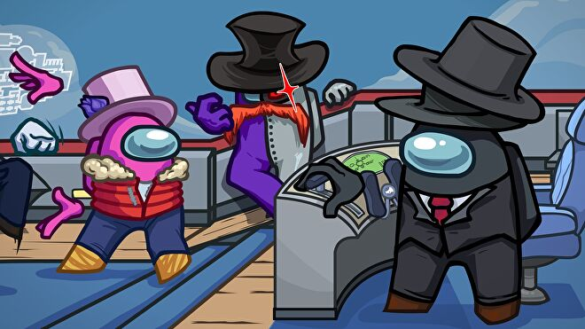 Some suspicious looking fellows with top hats hanging out in Among Us' upcoming Airship map.