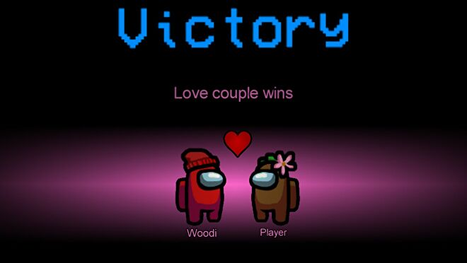 A red space bean finds love with a brown space bean in the Love Couple Among Us mod
