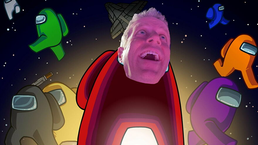 Artwork from Among Us with one bean sporting a photoshopped Geoff Keighley mask