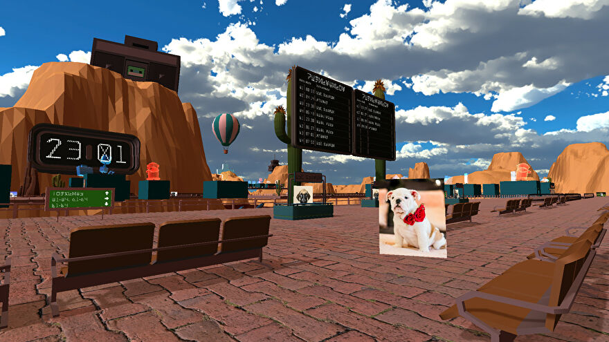 An image from An Airport For Aliens Run By Dogs which shows an airport waiting area on a mountainous planet. There's a hot air balloon rising in the distance and a white bulldog wearing a necklace of roses in front of you.
